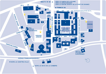 A map of the buildings of the Solbosch Campus