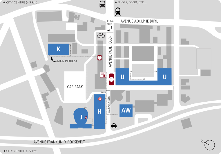 FOSDEM 2014 Transportation – Train Stations Brussels Map