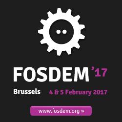 Logo of FOSDEM '17 Brussels 4 & 5 February 2017 www.fosdem.org